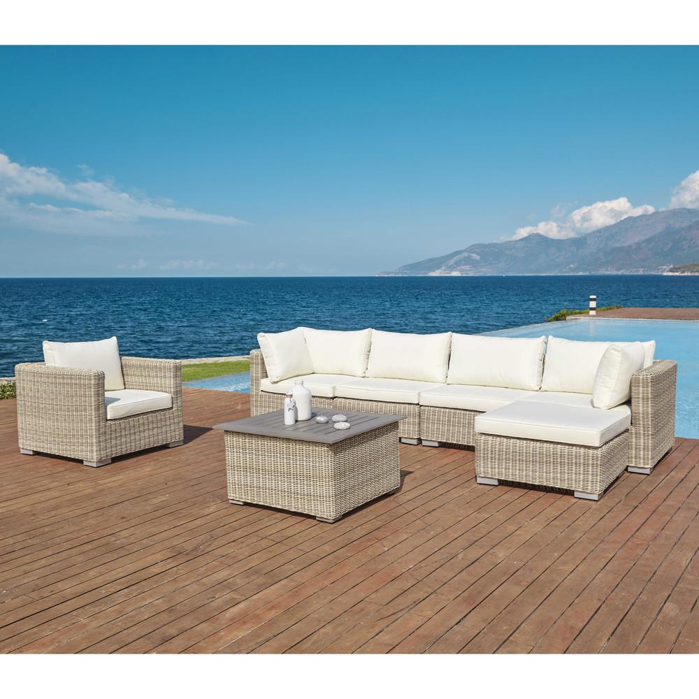 Sardaigne table basse de jardin en r sine tress e la caserne des meubles - Table basse resine tressee ...